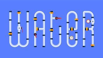 Der Wassertext wird in einem Cartoon-Schriftstil in Form von Wasserpfeifen erstellt. kreatives Konzept vektor