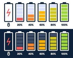 Symbol für das Energieniveau. Ladelast, Akkuanzeige des Telefons, Leistungsstufe des Smartphones, leere Akkumulatoren und vollständige Statussymbole. Stufen des Aufladens des Gadgets. Ladeenergie Prozent vektor