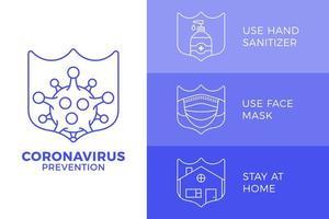 förebyggande av covid-19 allt i en ikon affisch vektorillustration. koronavirusskyddsblad med konturuppsättning. stanna hemma, använd ansiktsmask, använd handdesinfektionsmedel