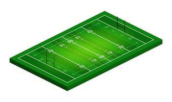 Vektor flache isometrische Ansicht der Rugby-Feldillustration. abstrakte isometrische Sportillustration