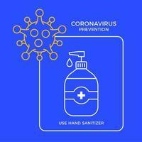 Banner Händedesinfektionsgel Gel Antivirus-Prävention Coronavirus. Konzeptschutz covid-19 Zeichenvektorillustration. Hintergrund des Covid-19-Präventionsdesigns. vektor