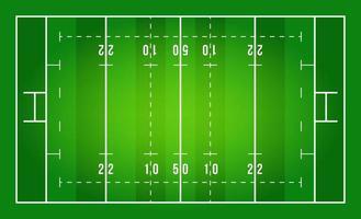 flaches grünes Rugbyfeld. Draufsicht des Rugbyfeldes mit Linienschablone. Vektorstadion.