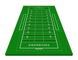 Perspektive grünes American-Football-Feld. Blick von vorne. Rugbyfeld mit Linienschablone. Vektor-Illustration Stadion.