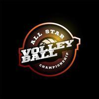 Volleyball-Vektor-Logo. moderne professionelle Typografie Sport Retro-Stil Vektor Emblem und Vorlage Logo Design. buntes Volleyball-Logo