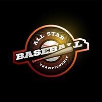 Orangen Logo des modernen Profisporttypografie des Baseballvektors im Retro-Stil. Vektor-Design Emblem, Abzeichen und sportliche Vorlage Logo-Design vektor