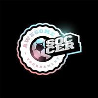 Fußball oder Fußball moderne Profisport Typografie Logo im Retro-Stil. Vektor-Design Emblem, Abzeichen und sportliche Vorlage Logo-Design