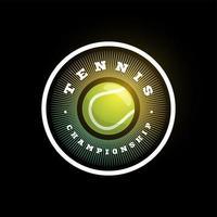 Tennis kreisförmiges Vektor-Logo. moderne professionelle Typografie Sport Retro-Stil Vektor Emblem und Vorlage Logo Design. buntes Tennislogo.