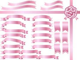 Eine Reihe von sortierten rosa Bändern.