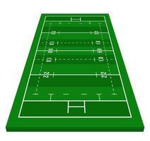 Perspektive grünes Rugbyfeld. Blick von vorne. Rugbyfeld mit Linienschablone. Vektor-Illustration Stadion.