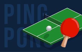 Tischtennis Center Banner Design. isometrische Tabelle für das Tischtennis. Vektorillustration