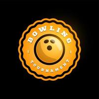 Bowling Orange kreisförmige Vektor-Logo. moderne professionelle Typografie Sport Retro-Stil Vektor Emblem und Vorlage Logo Design. Bowling gelbes Logo