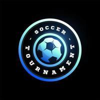 Fußball Fußball Kreis Vektor-Logo. moderne professionelle Typografie Sport Retro-Stil Vektor Emblem und Vorlage Logo Design. buntes Fußballlogo