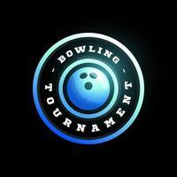 Bowling kreisförmigen Vektor-Logo. moderne professionelle Typografie Sport Retro-Stil Vektor Emblem und Vorlage Logo Design. Bowling Blue Logo.