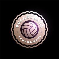 volleyboll cirkulär vektor logotyp. modern professionell typografi sport retro stil vektor emblem och mall logotype design. volleyboll färgglada logotyp