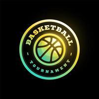 Vektor Basketball Liga Logo mit Ball. rosa Farbe Sportabzeichen für Turniermeisterschaft oder Liga