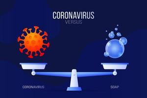 Coronavirus oder Seifenvektor Illustration verwenden. kreatives Konzept von Skalen und Versus, auf einer Seite der Skala befindet sich ein Virus covid-19 und auf der anderen Seite ein Seifenblasen-Symbol. flache Vektorillustration. vektor
