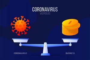 coronavirus eller ekonomiska pengar vektorillustration. kreativa begreppet skalor och kontra, på ena sidan av skalan ligger ett virus covid-19 och på det andra myntikonen. platt vektorillustration. vektor
