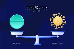Coronavirus oder medizinische Pille Vektor-Illustration. kreatives Konzept von Skalen und Versus, auf einer Seite der Skala befindet sich ein Virus covid-19 und auf der anderen Pillenikone. flache Vektorillustration.
