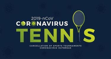 Tennis Vektor Banner Vorsicht Coronavirus. Stopp des Ausbruchs 2019-ncov. Coronavirus-Gefahr und Risiko für die öffentliche Gesundheit Krankheit und Grippeausbruch. Absage von Sportveranstaltungen und Spielkonzept