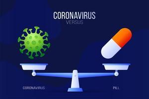 coronavirus eller medicinsk piller vektorillustration. kreativa konceptet skalor och kontra, på ena sidan av skalan ligger ett virus covid-19 och på det andra pillerikonen. platt vektorillustration.