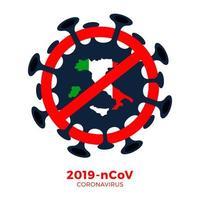 Italien Flagge isometrische Karte Zeichen Vorsicht Coronavirus. Stopp des Ausbruchs 2019-ncov. Coronavirus-Gefahr und Risiko für die öffentliche Gesundheit Krankheit und Grippeausbruch. pandemisches medizinisches Konzept. Vektorillustration