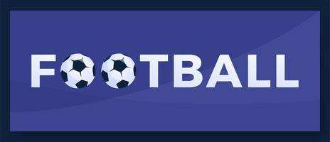 Vektor Typografie Wort Fußball Fußball Logo. Sportlogo mit Ausrüstung für Druckdesignvektorillustration