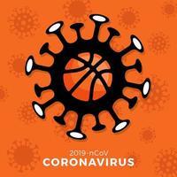Basketball Vektor Zeichen Vorsicht Coronavirus. Stoppen Sie den Covid-19-Ausbruch. Coronavirus-Gefahr und Risiko für die öffentliche Gesundheit Krankheit und Grippeausbruch. Absage von Sportveranstaltungen und Spielkonzept