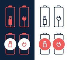 Batterieladegerät durch elektrischen Steckervektorsymbol auf weißem Hintergrund