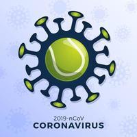 Tennisball Vektor Zeichen Vorsicht Coronavirus. Stoppen Sie den Covid-19-Ausbruch. Coronavirus-Gefahr und Risiko für die öffentliche Gesundheit Grippeausbruch. Absage von Sportveranstaltungen und Spielkonzept