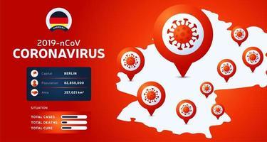 Ausbruch des Coronavirus aus Wuhan, China. Achten Sie auf neuartige Coronavirus-Ausbrüche in Deutschland. Verbreitung des neuartigen Coronavirus-Hintergrunds. vektor
