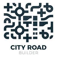 Straße und Straße mit Fußwegen und Kreuzungen. Vektorelemente für Stadtplan. Autobahn Asphaltweg Verkehrsstraßen vektor