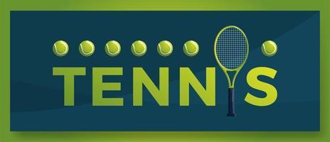 Vektor Typografie Wort Tennis Logo. Sportlogo mit Ausrüstung für Druckdesignvektorillustration