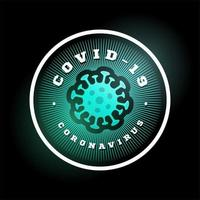 Coronavirus-Covid-19-Vektorlogo. moderner professioneller Kreissport 2019-ncov Ausbruch im Retro-Artvektoremblem und im Schablonenlogotypentwurf. Coronavirus-Gefahr und Risiko für die öffentliche Gesundheit vektor