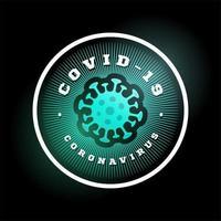 coronavirus covid-19 vektorlogotyp. modern professionell cirkel sport 2019-ncov utbrott i retrostil vektor emblem och mall logotyp design. koronavirus fara och folkhälsorisk sjukdom