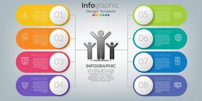 Infografik Design Vektor und Symbole können für Workflow-Layout, Diagramm, Bericht, Web-Design verwendet werden. Geschäftskonzept mit Optionen, Schritten oder Prozessen.