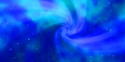 hellblauer Vektorhintergrund mit kleinen und großen Sternen.