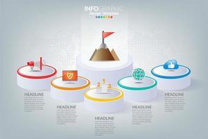 Business Infografik Timeline, wie man mit Optionen und Symbolen zum Erfolg führt.