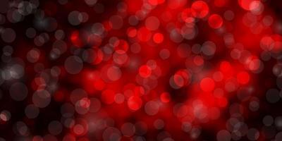 mörk röd vektor bakgrund med cirklar.