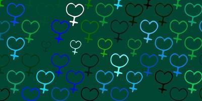 hellblaues, grünes Vektormuster mit Feminismuselementen.
