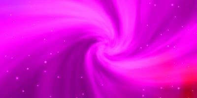 hellpurpurner, rosa Vektorhintergrund mit kleinen und großen Sternen.