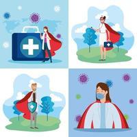 superläkare med hjältinna kappa banner uppsättning