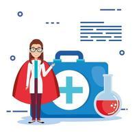 superläkare med hjältemantel och medicinska ikoner