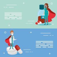 superläkare och medicin banneruppsättning vektor
