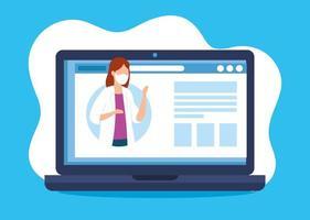Online-Medizin mit Arzt und Laptop