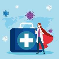 superläkare med hjältekåpa och första hjälpen-kit vektor