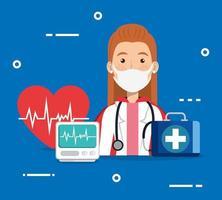 super läkare kvinna med hjältinna kappa och medicin ikoner