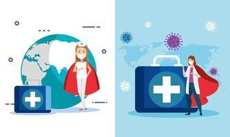 Set Super Krankenschwester und Arzt mit Heldin Umhang und medizinischen Ikonen vektor