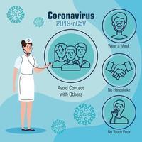 coronavirusförebyggande banner med sjuksköterska