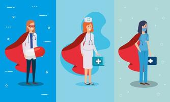 grupp hälso-och sjukvårdspersonal som superhjältar