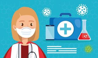 super läkare med hjältinna cape och medicinska ikoner